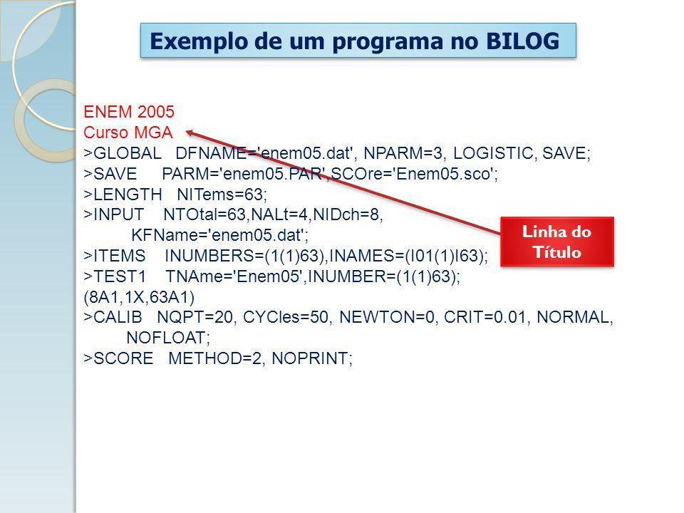 Exemplo de um programa no BILOG ENEM 2005 Curso MGA >GLOBAL DFNAME= enem05.dat , NPARM=3, LOGISTIC, SAVE; >SAVE PARM= enem05.PAR ,SCOre= Enem05.sco ; >LENGTH NITems=63; >INPUT NTOtal=63,NALt=4,NIDch=8, KFName= enem05.dat ; >ITEMS INUMBERS=(1(1)63),INAMES=(I01(1)I63); >TEST1 TNAme= Enem05 ,INUMBER=(1(1)63); (8A1,1X,63A1) >CALIB NQPT=20, CYCles=50, NEWTON=0, CRIT=0.01, NORMAL, NOFLOAT; >SCORE METHOD=2, NOPRINT; Linha do Título