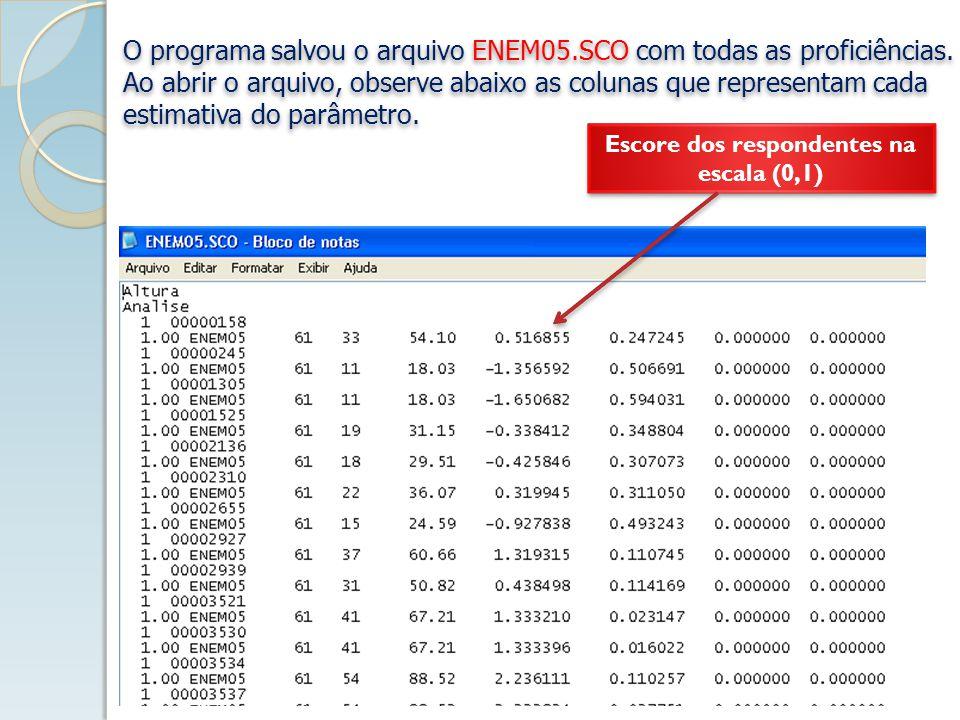 O programa salvou o arquivo ENEM05.SCO com todas as proficiências.