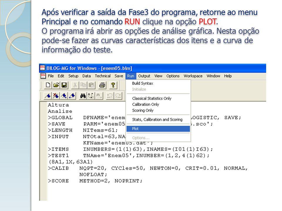 Após verificar a saída da Fase3 do programa, retorne ao menu Principal e no comando RUN clique na opção PLOT.