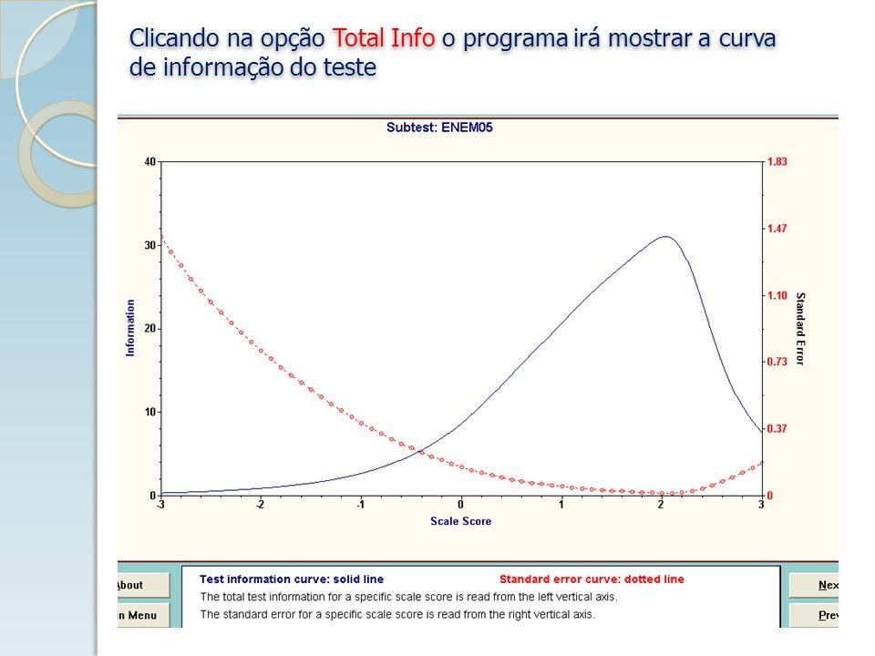 Clicando na opção Total Info o programa irá mostrar a curva de informação do teste Clicando na opção Total Info o programa irá mostrar a curva de informação do teste