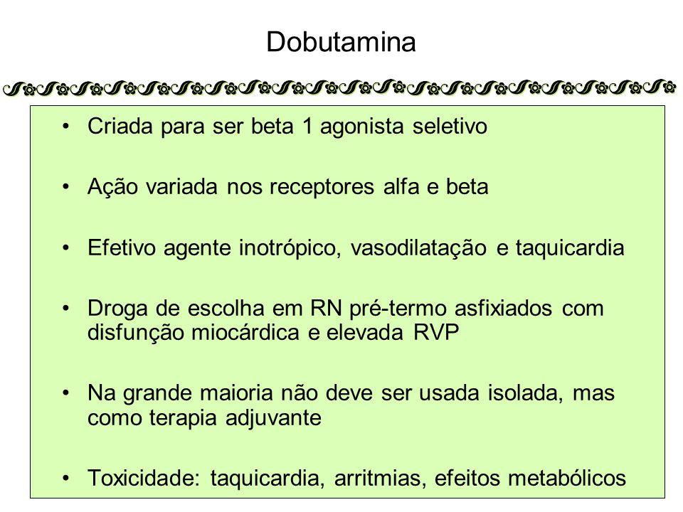 Dobutamina Criada para ser beta 1 agonista seletivo Ação variada nos receptores alfa e beta Efetivo agente inotrópico, vasodilatação e taquicardia Droga de escolha em RN pré-termo asfixiados com disfunção miocárdica e elevada RVP Na grande maioria não deve ser usada isolada, mas como terapia adjuvante Toxicidade: taquicardia, arritmias, efeitos metabólicos