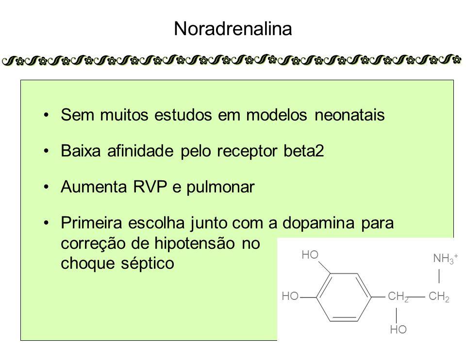 Noradrenalina Sem muitos estudos em modelos neonatais Baixa afinidade pelo receptor beta2 Aumenta RVP e pulmonar Primeira escolha junto com a dopamina para correção de hipotensão no choque séptico HO CH 2 NH 3 + CH 2 HO