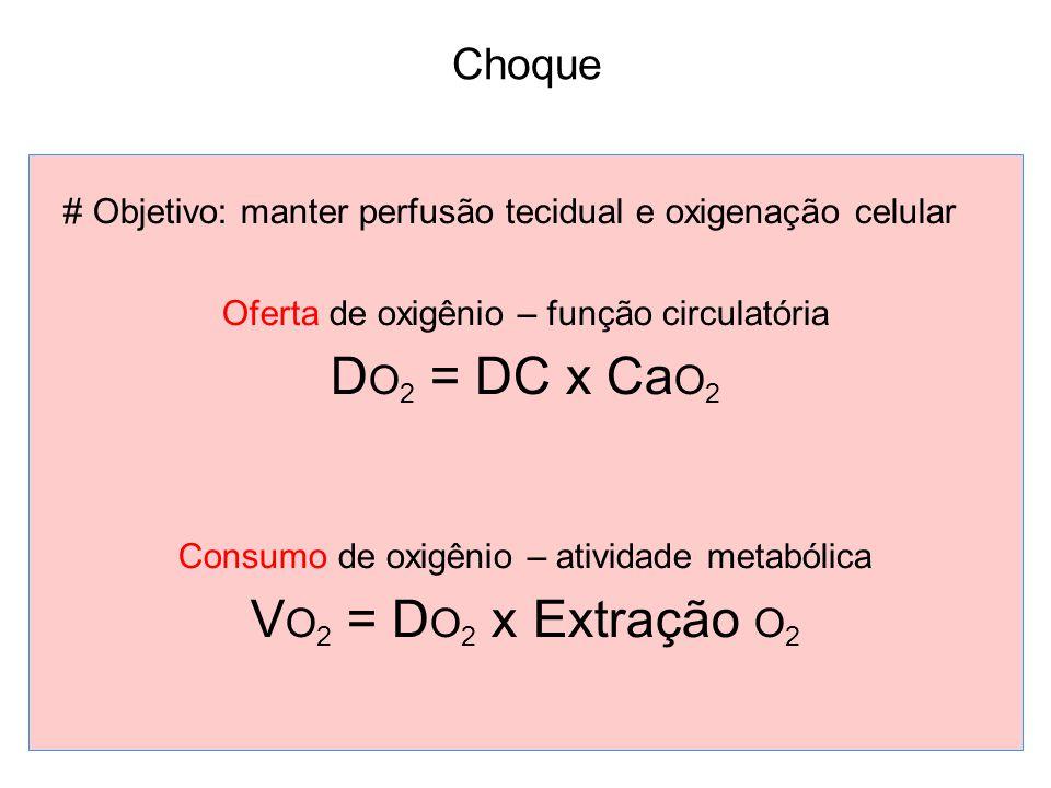 Choque # Objetivo: manter perfusão tecidual e oxigenação celular Oferta de oxigênio – função circulatória D O 2 = DC x Ca O 2 Consumo de oxigênio – atividade metabólica V O 2 = D O 2 x Extração O 2