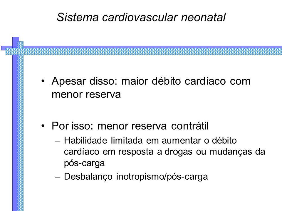 Sistema cardiovascular neonatal Apesar disso: maior débito cardíaco com menor reserva Por isso: menor reserva contrátil –Habilidade limitada em aumentar o débito cardíaco em resposta a drogas ou mudanças da pós-carga –Desbalanço inotropismo/pós-carga