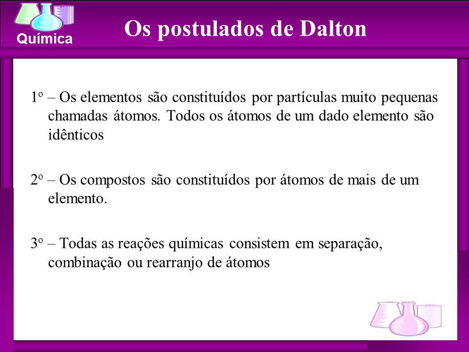 Química Os postulados de Dalton 1 o – Os elementos são constituídos por partículas muito pequenas chamadas átomos. Todos os átomos de um dado elemento