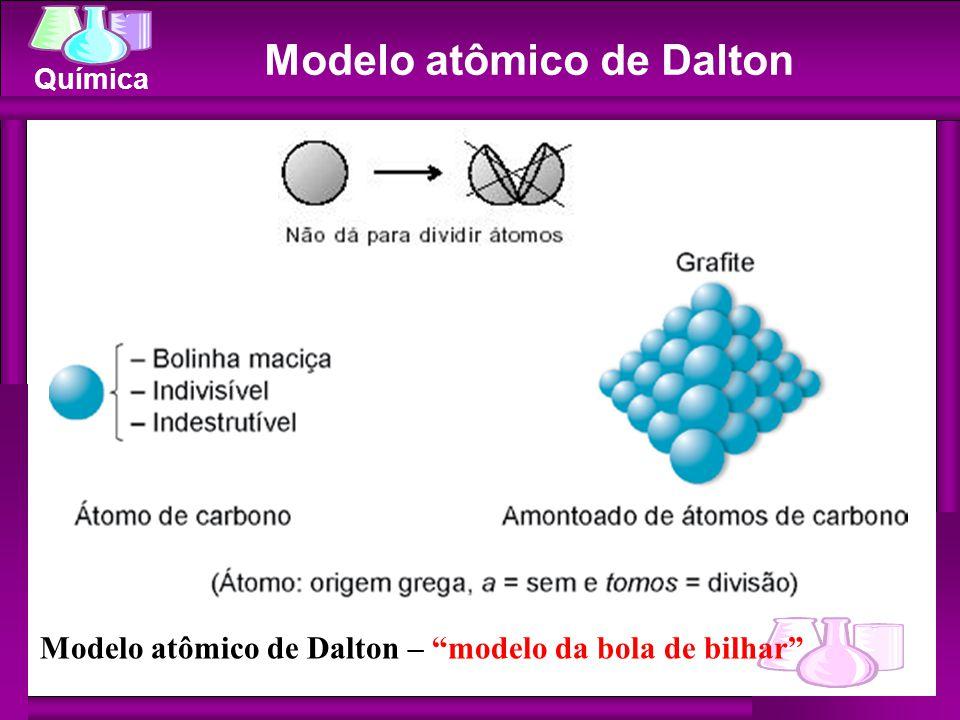 """Química Modelo atômico de Dalton Modelo atômico de Dalton – """"modelo da bola de bilhar"""""""