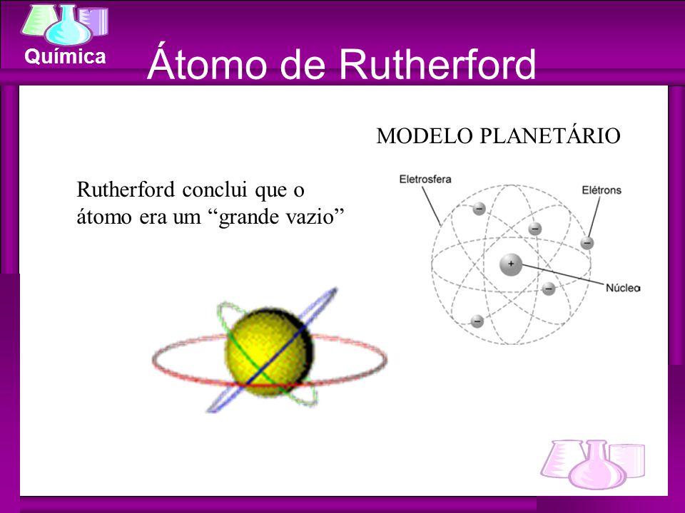 """Química Átomo de Rutherford Rutherford conclui que o átomo era um """"grande vazio"""" MODELO PLANETÁRIO"""