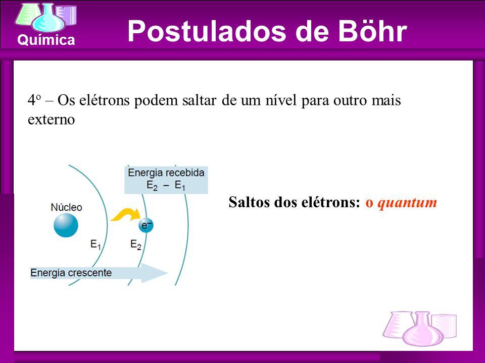 Química Saltos dos elétrons: o quantum 4 o – Os elétrons podem saltar de um nível para outro mais externo Postulados de Böhr