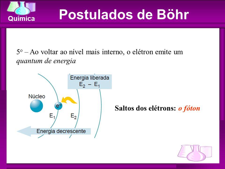 Química Saltos dos elétrons: o fóton 5 o – Ao voltar ao nível mais interno, o elétron emite um quantum de energia Postulados de Böhr