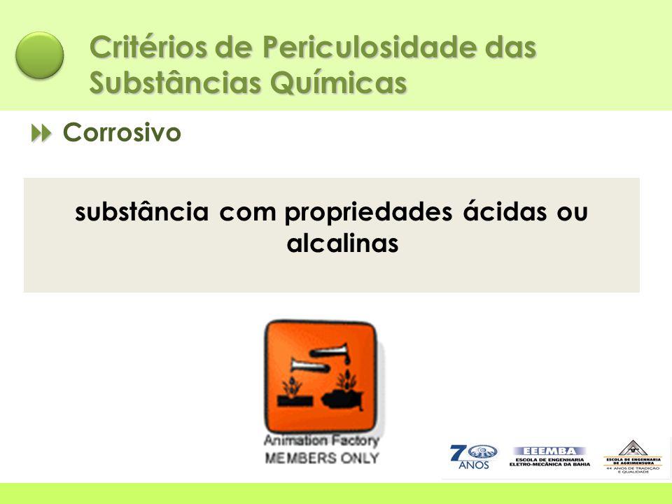   Corrosivo Critérios de Periculosidade das Substâncias Químicas substância com propriedades ácidas ou alcalinas