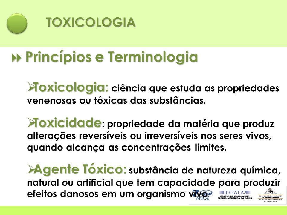TOXICOLOGIA  Princípios e Terminologia  Toxicologia:  Toxicologia: ciência que estuda as propriedades venenosas ou tóxicas das substâncias.  Toxic