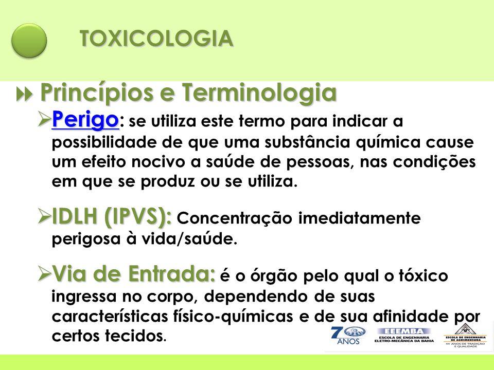 TOXICOLOGIA  Princípios e Terminologia  Perigo  Perigo : se utiliza este termo para indicar a possibilidade de que uma substância química cause um