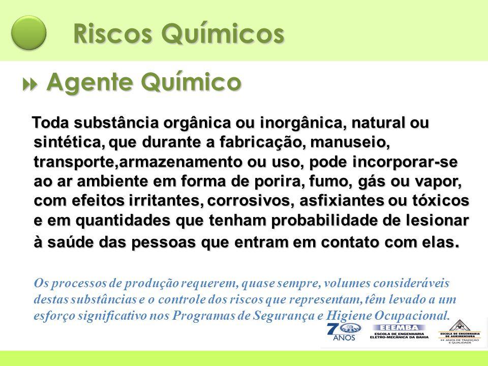 Riscos Químicos  Agente Químico Toda substância orgânica ou inorgânica, natural ou sintética, que durante a fabricação, manuseio, transporte,armazena