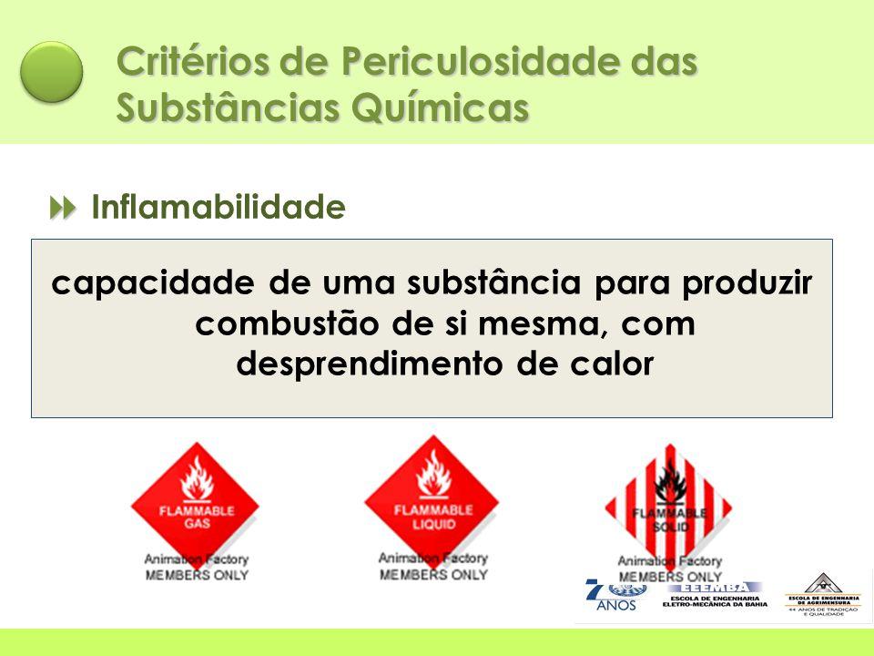   Inflamabilidade Critérios de Periculosidade das Substâncias Químicas capacidade de uma substância para produzir combustão de si mesma, com despren