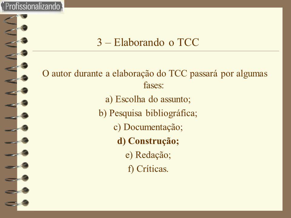 3 – Elaborando o TCC  O autor durante a elaboração do TCC passará por algumas fases: a) Escolha do assunto; b) Pesquisa bibliográfica; c) Documentaçã
