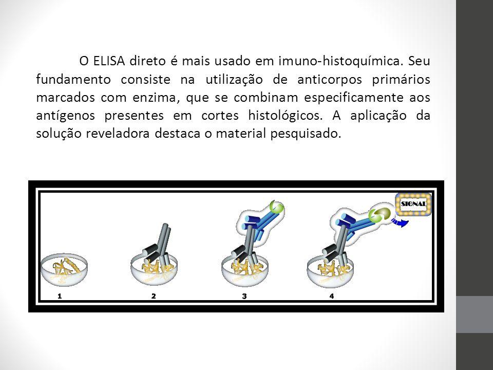 O ELISA direto é mais usado em imuno-histoquímica. Seu fundamento consiste na utilização de anticorpos primários marcados com enzima, que se combinam