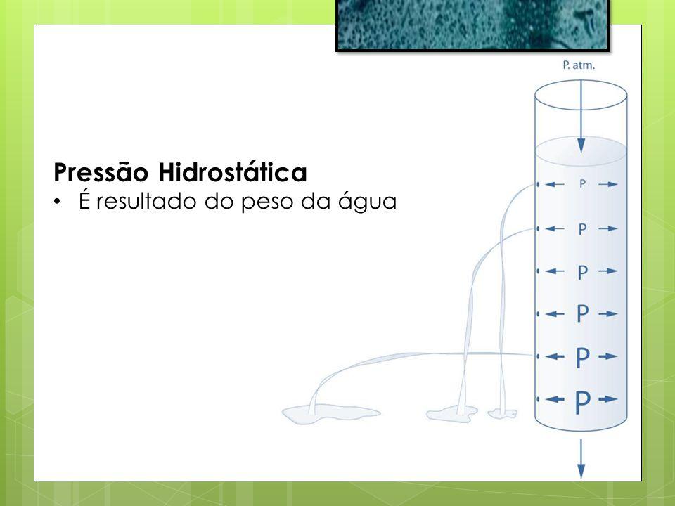 Pressão Hidrostática É resultado do peso da água