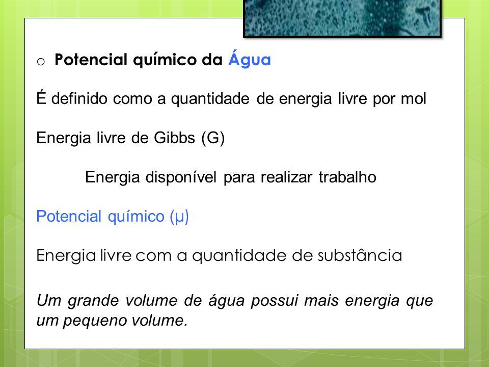 o Potencial químico da Água É definido como a quantidade de energia livre por mol Energia livre de Gibbs (G) Energia disponível para realizar trabalho