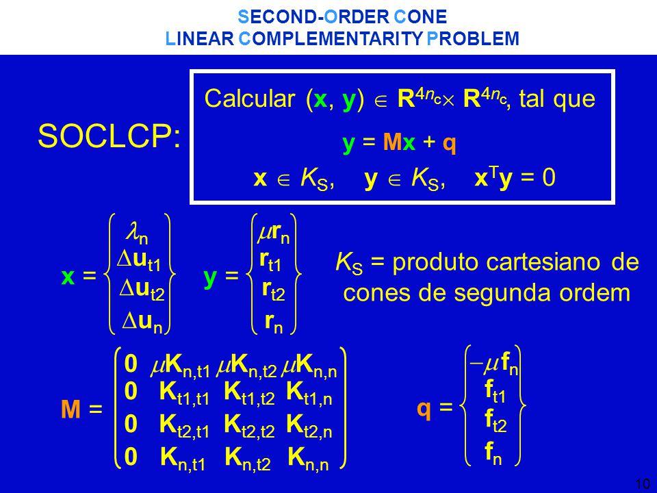 10 SECOND-ORDER CONE LINEAR COMPLEMENTARITY PROBLEM x = n  u t1  u t2 unun y = rnrn r t1 r t2 rnrn K S = produto cartesiano de cones de segunda ordem M = 0 0 0 0  K n,t1 K t1,t1 K t2,t1 K n,t1  K n,t2 K t1,t2 K t2,t2 K n,t2  K n,n K t1,n K t2,n K n,n q = fnfn f t1 f t2 fnfn SOCLCP: Calcular (x, y)  R 4n  R 4n, tal que y = Mx + q x  K S, y  K S, x T y = 0 cc