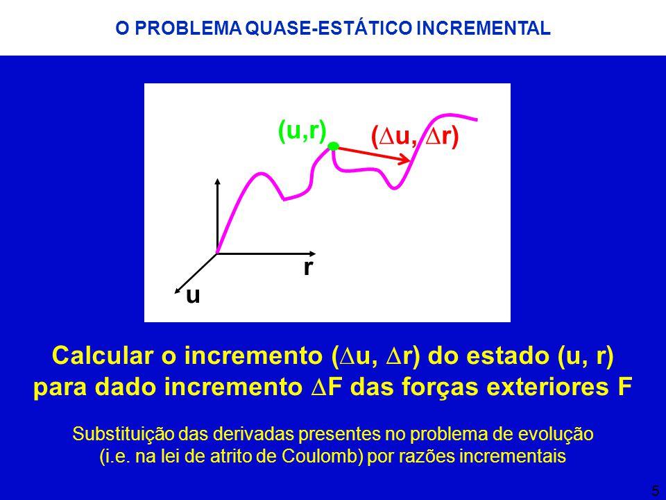 6 O PROBLEMA QUASE-ESTÁTICO INCREMENTAL Ku 0 = f 0 + r 0 Equação de equilíbrio de um estado de equilíbrio (u 0, r 0 ) conhecido correspondente a forças exteriores f 0 : Forma incremental das equações de equilíbrio: K  u =  f +  r K = K F,F K C,F K F,C K C,C  u = uFuF uCuC  f = fFfF fCfC  r = 0 rCrC  K = K C,C  K C,F K F,F K F,C 11 K  u C = f + r C  Equações de equilíbrio condensadas no contacto:
