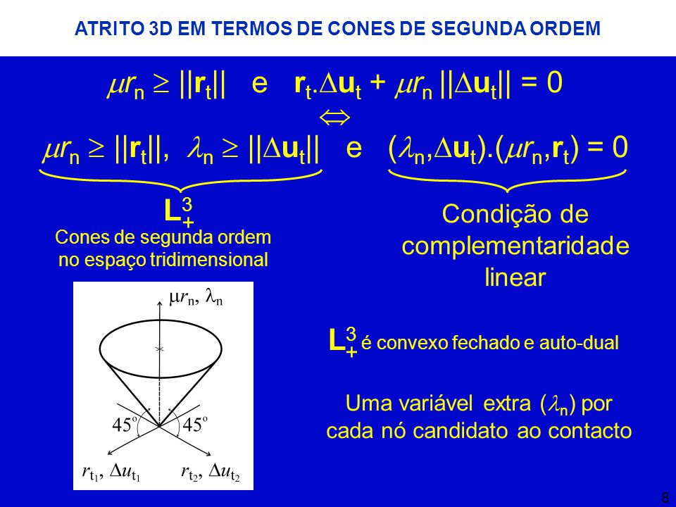 8 ATRITO 3D EM TERMOS DE CONES DE SEGUNDA ORDEM  r n  ||r t || e r t.