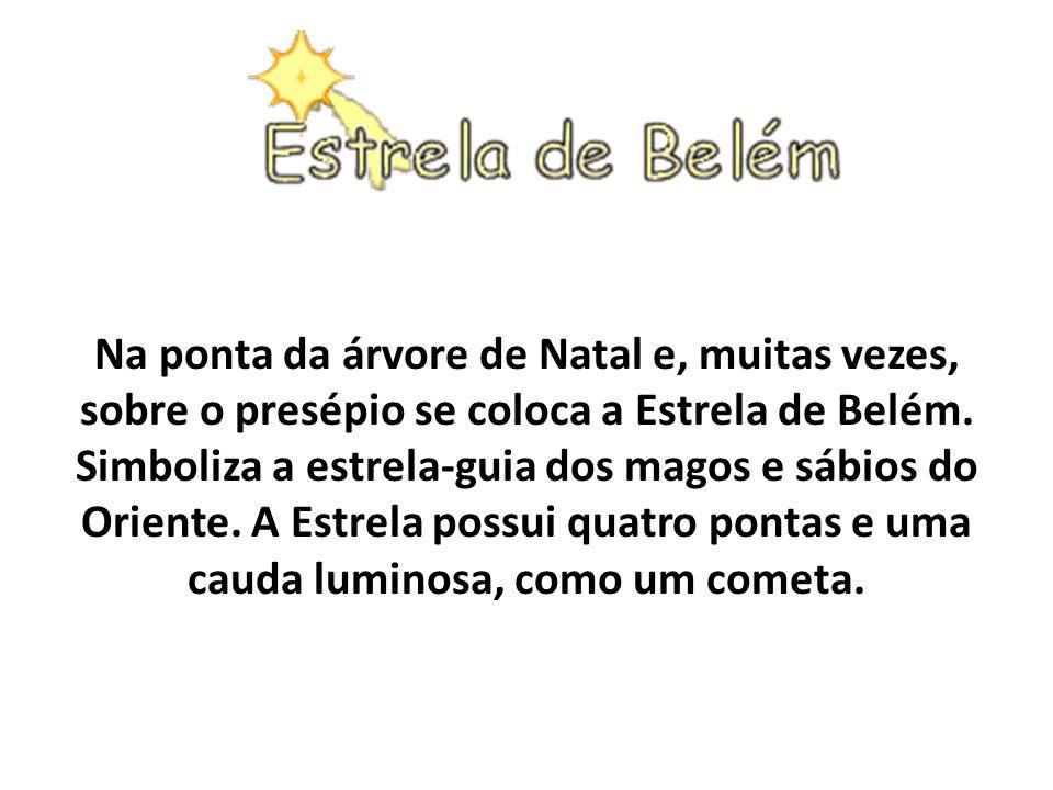 Na ponta da árvore de Natal e, muitas vezes, sobre o presépio se coloca a Estrela de Belém. Simboliza a estrela-guia dos magos e sábios do Oriente. A