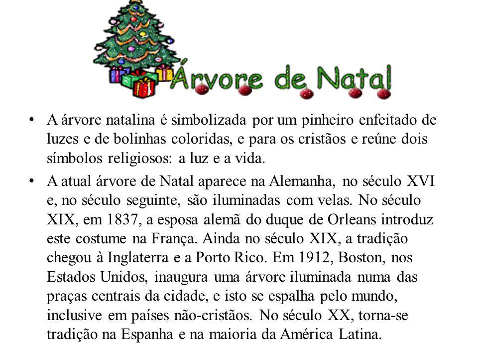 A árvore natalina é simbolizada por um pinheiro enfeitado de luzes e de bolinhas coloridas, e para os cristãos e reúne dois símbolos religiosos: a luz
