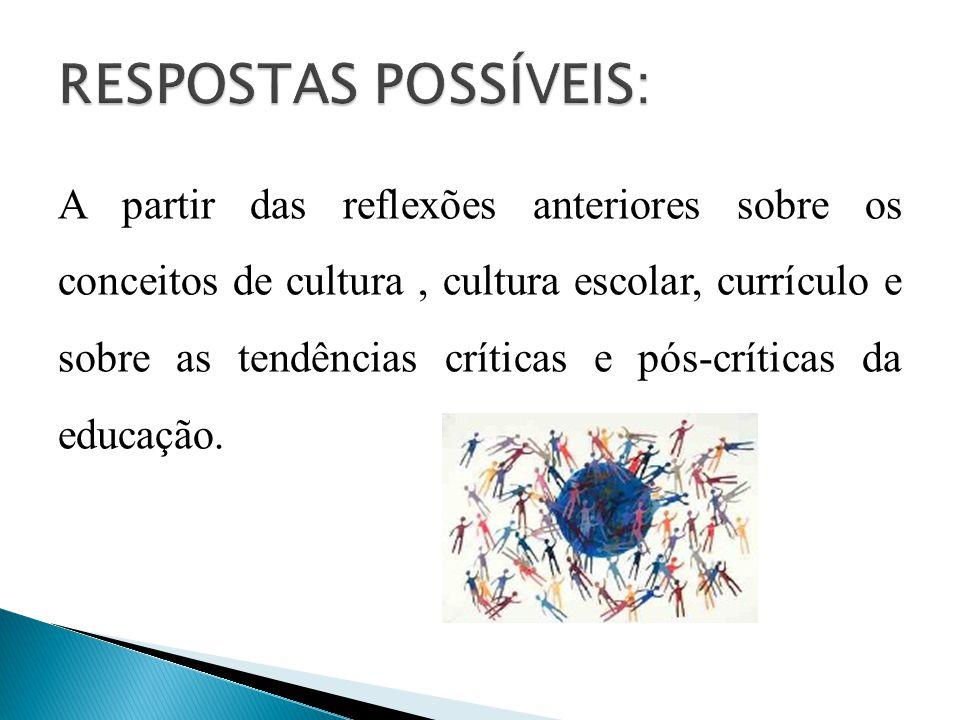 A partir das reflexões anteriores sobre os conceitos de cultura, cultura escolar, currículo e sobre as tendências críticas e pós-críticas da educação.