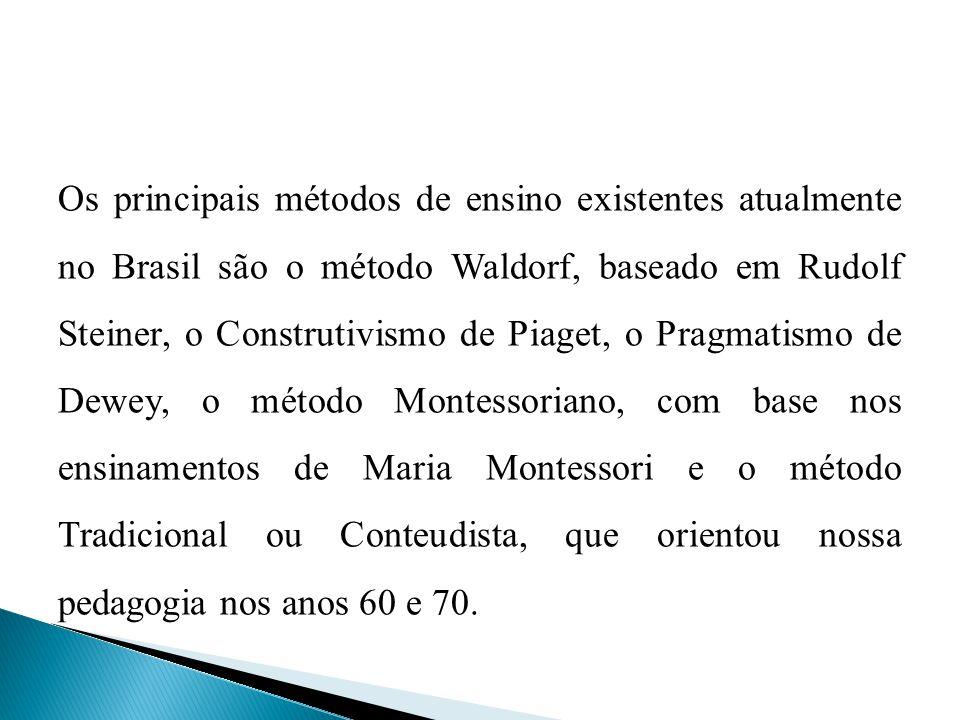 Os principais métodos de ensino existentes atualmente no Brasil são o método Waldorf, baseado em Rudolf Steiner, o Construtivismo de Piaget, o Pragmatismo de Dewey, o método Montessoriano, com base nos ensinamentos de Maria Montessori e o método Tradicional ou Conteudista, que orientou nossa pedagogia nos anos 60 e 70.