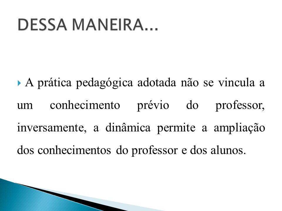  A prática pedagógica adotada não se vincula a um conhecimento prévio do professor, inversamente, a dinâmica permite a ampliação dos conhecimentos do professor e dos alunos.
