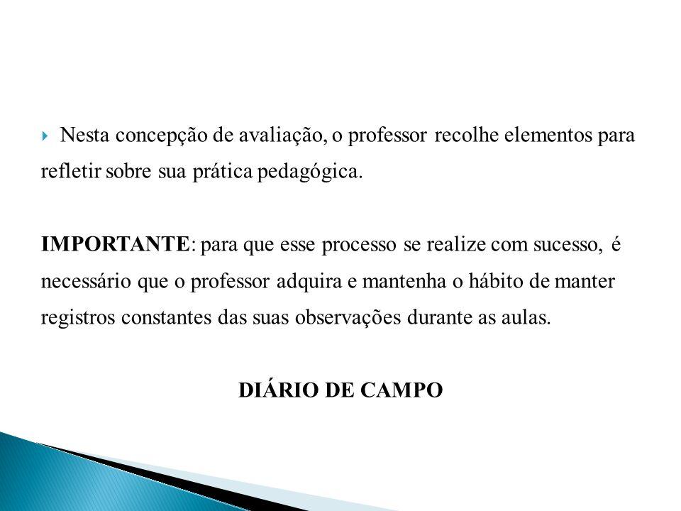  Nesta concepção de avaliação, o professor recolhe elementos para refletir sobre sua prática pedagógica.