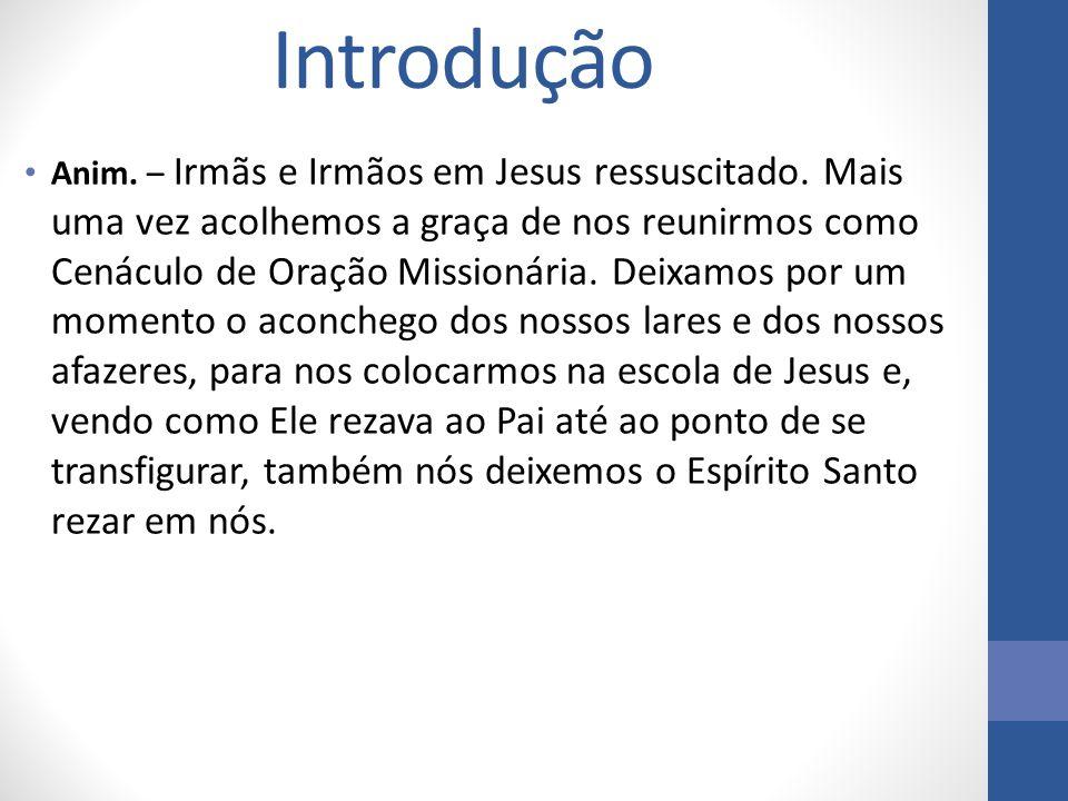 Introdução Anim. – Irmãs e Irmãos em Jesus ressuscitado. Mais uma vez acolhemos a graça de nos reunirmos como Cenáculo de Oração Missionária. Deixamos