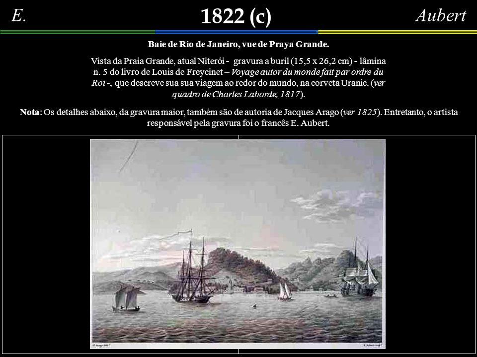1822 (c) Aqueduto do Rio de Janeiro, gravura em buril (18,5 x 26,1 cm), em preto e branco. Mais um desenho (fantasioso) de Jacques Arago (ver 1825), l