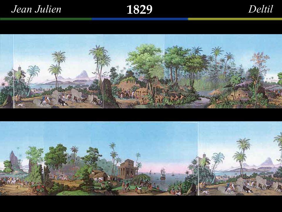 1828 Langlumé Francês Presqu´ile et Chapelle de N.D. de bon voyage à l´entrée de la baie de Rio de Janeiro. (Brésil) (Ilha da Boa Viagem, ao fundo o C