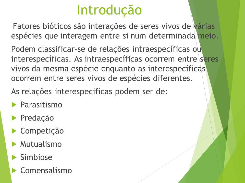 Introdução Fatores bióticos são interações de seres vivos de várias espécies que interagem entre si num determinada meio. Podem classificar-se de rela