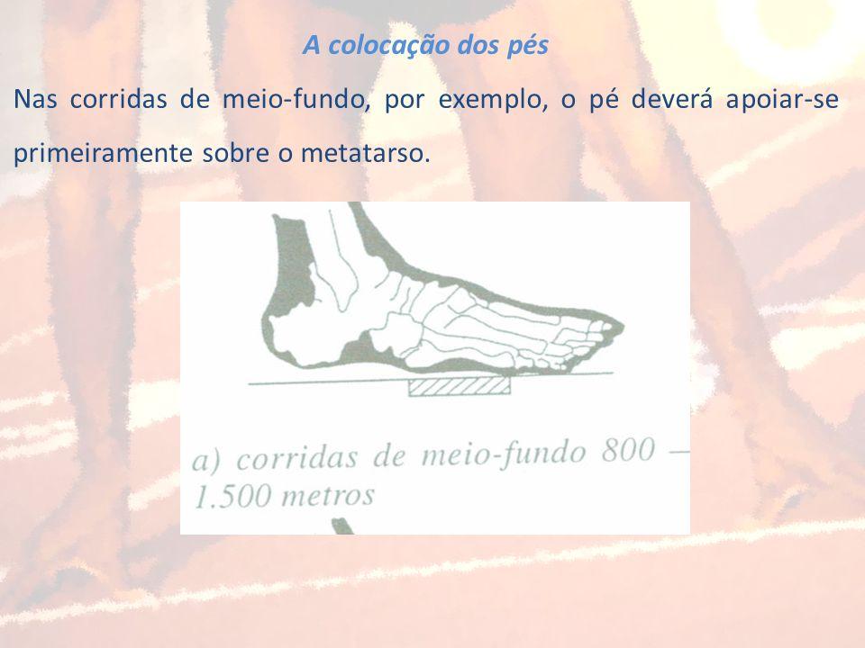 A colocação dos pés Nas corridas de meio-fundo, por exemplo, o pé deverá apoiar-se primeiramente sobre o metatarso.