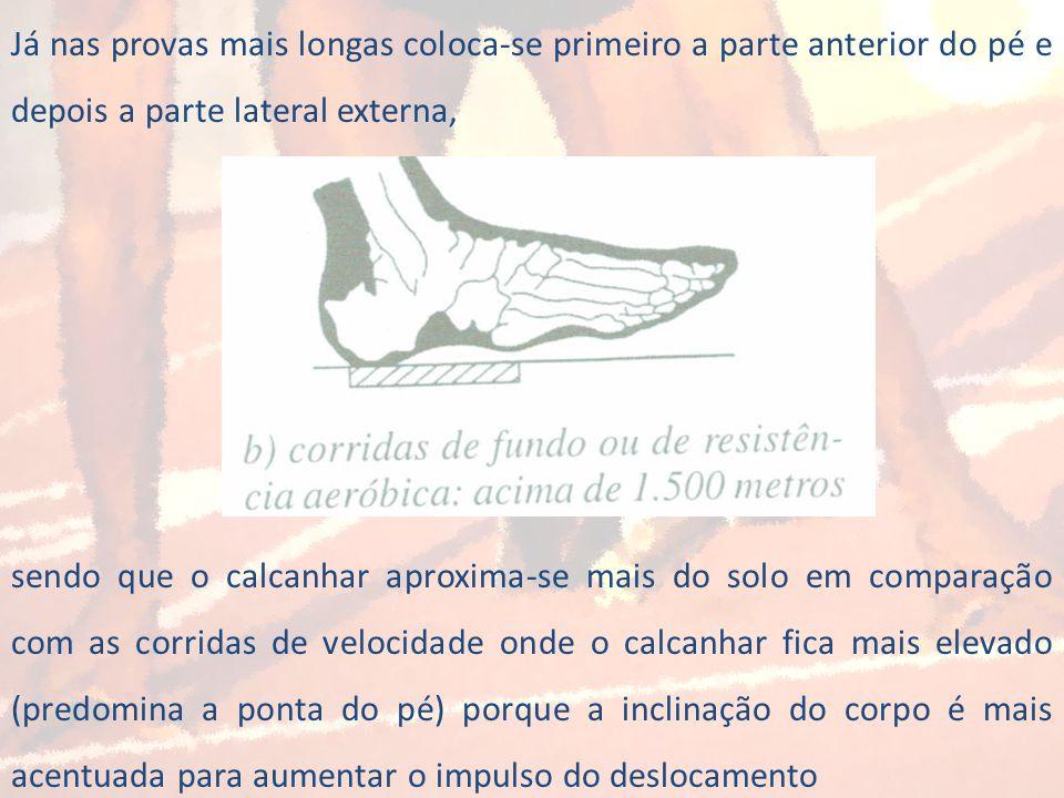 Já nas provas mais longas coloca-se primeiro a parte anterior do pé e depois a parte lateral externa, sendo que o calcanhar aproxima-se mais do solo e