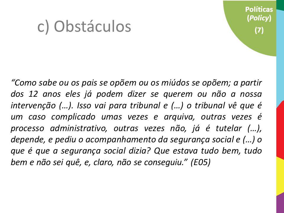 """Instituições e Técnicos (17) Macro (15) Família (10) Políticas (Policy) (7) c) Obstáculos """"Como sabe ou os pais se opõem ou os miúdos se opõem; a part"""