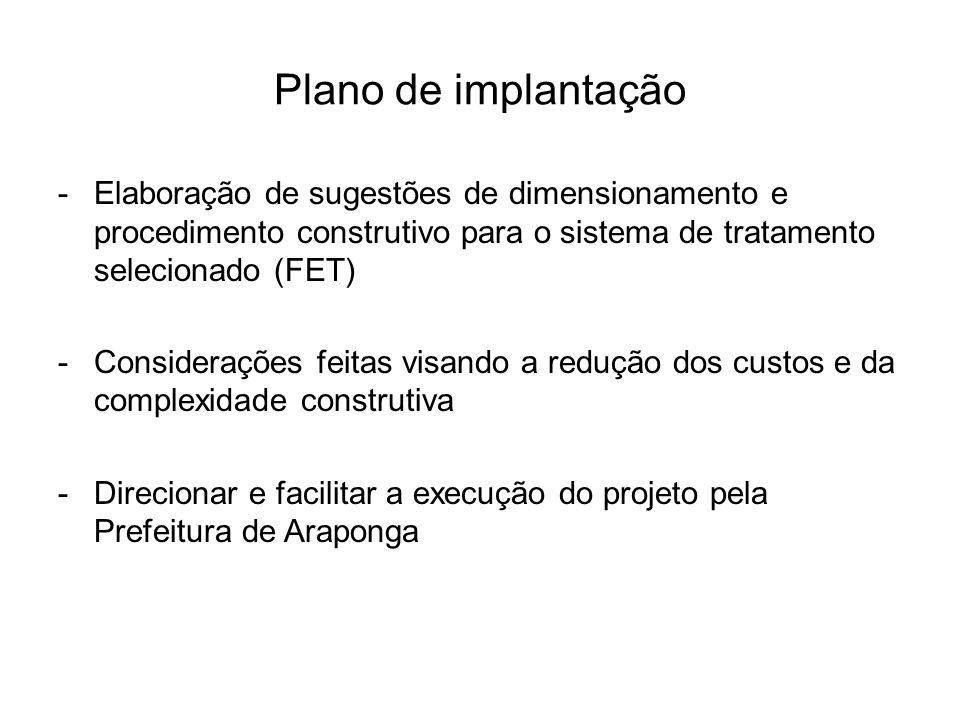 Plano de implantação -Elaboração de sugestões de dimensionamento e procedimento construtivo para o sistema de tratamento selecionado (FET) -Consideraç