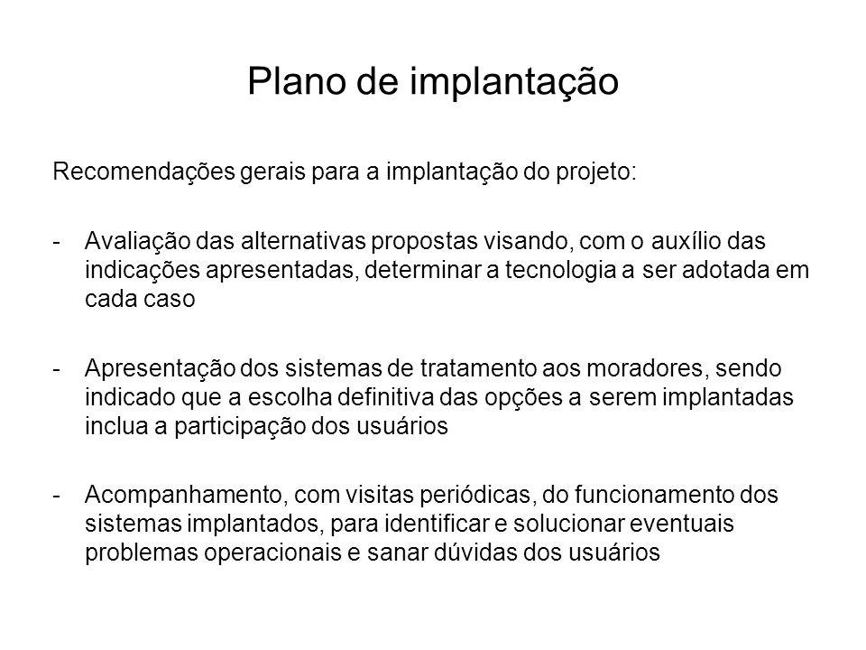 Plano de implantação Recomendações gerais para a implantação do projeto: -Avaliação das alternativas propostas visando, com o auxílio das indicações a