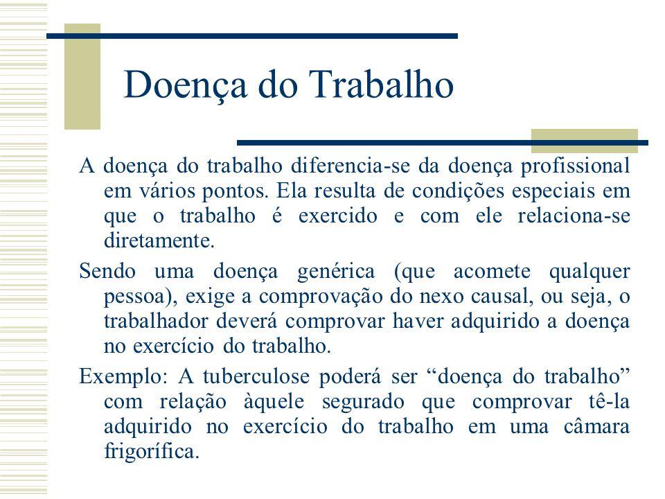 Doença do Trabalho A doença do trabalho diferencia-se da doença profissional em vários pontos. Ela resulta de condições especiais em que o trabalho é