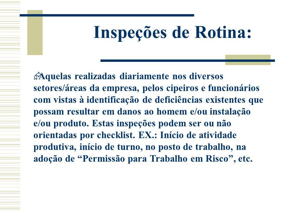 Inspeções de Rotina:  Aquelas realizadas diariamente nos diversos setores/áreas da empresa, pelos cipeiros e funcionários com vistas à identificação