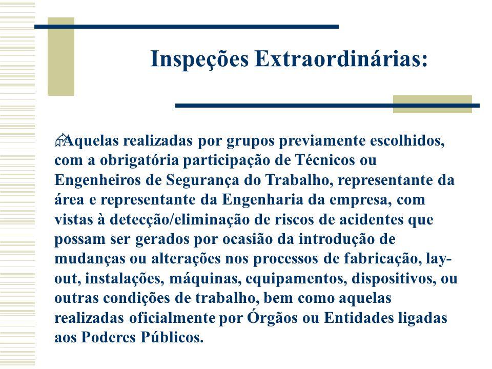 Inspeções Extraordinárias:  Aquelas realizadas por grupos previamente escolhidos, com a obrigatória participação de Técnicos ou Engenheiros de Segura