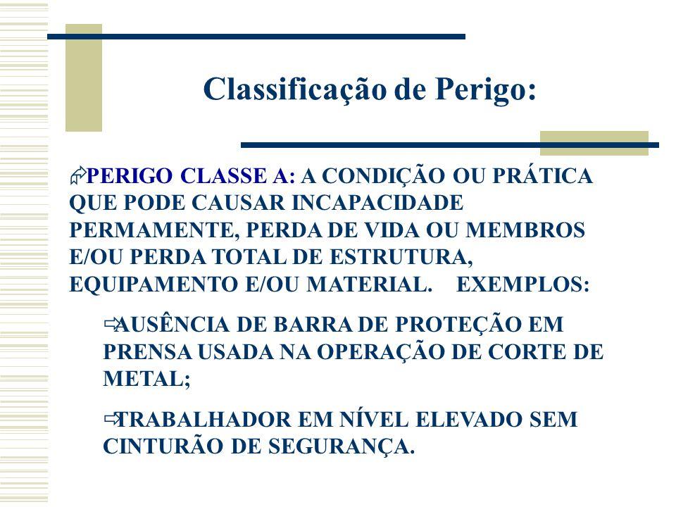 Classificação de Perigo:  PERIGO CLASSE A: A CONDIÇÃO OU PRÁTICA QUE PODE CAUSAR INCAPACIDADE PERMAMENTE, PERDA DE VIDA OU MEMBROS E/OU PERDA TOTAL D