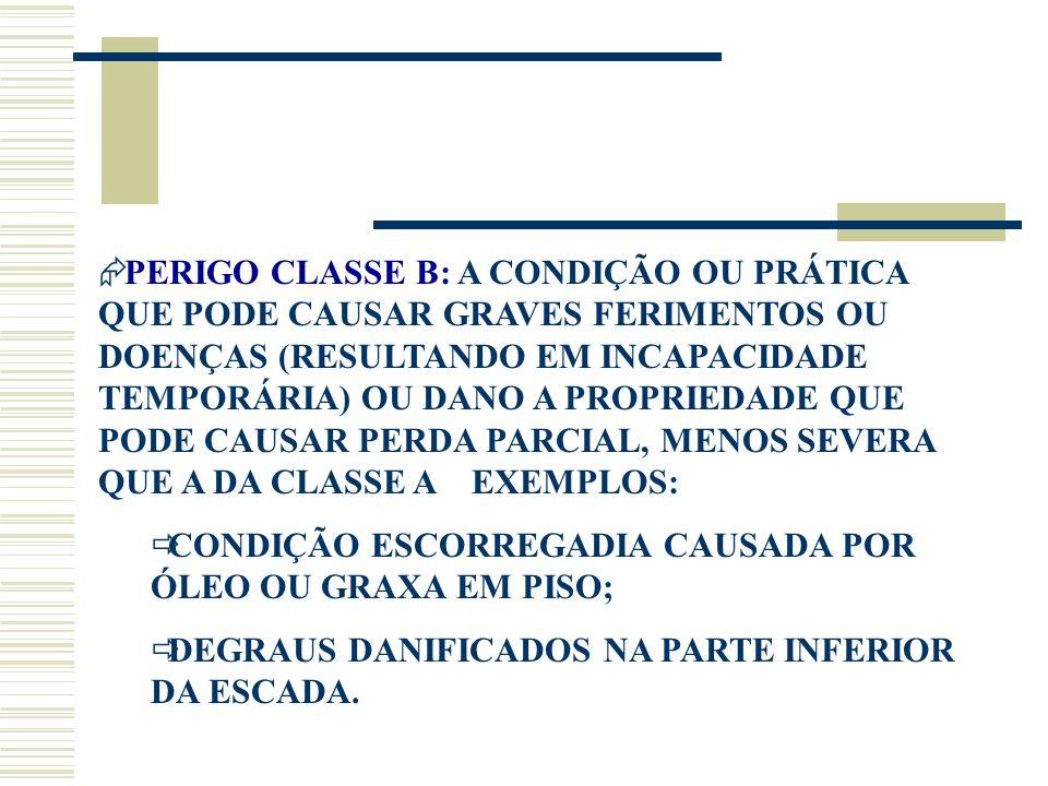  PERIGO CLASSE B: A CONDIÇÃO OU PRÁTICA QUE PODE CAUSAR GRAVES FERIMENTOS OU DOENÇAS (RESULTANDO EM INCAPACIDADE TEMPORÁRIA) OU DANO A PROPRIEDADE QU