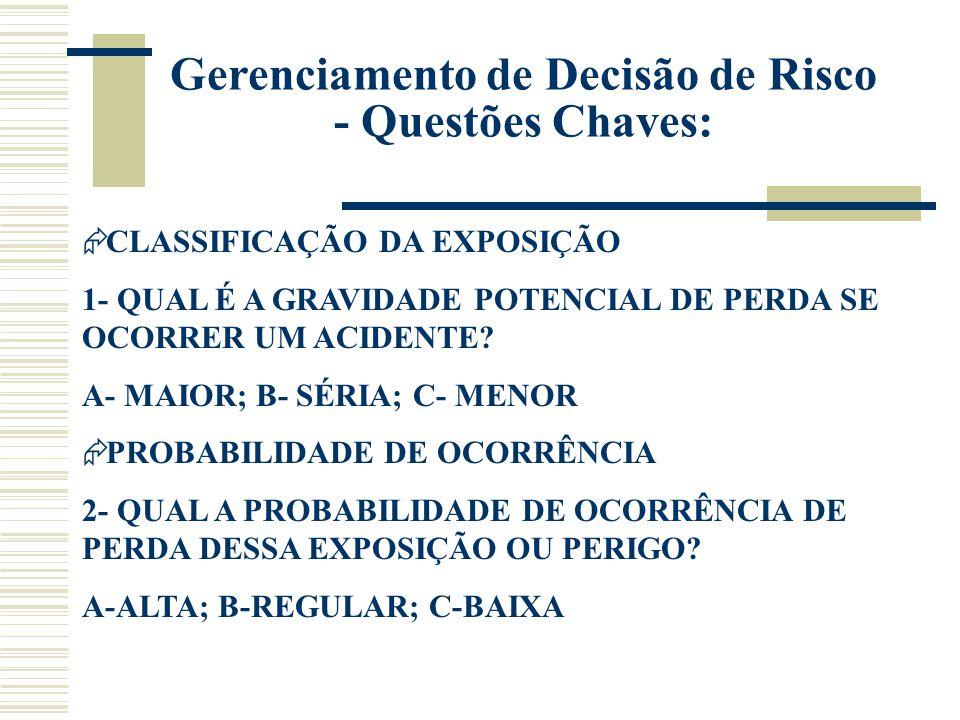 Gerenciamento de Decisão de Risco - Questões Chaves:  CLASSIFICAÇÃO DA EXPOSIÇÃO 1- QUAL É A GRAVIDADE POTENCIAL DE PERDA SE OCORRER UM ACIDENTE? A-