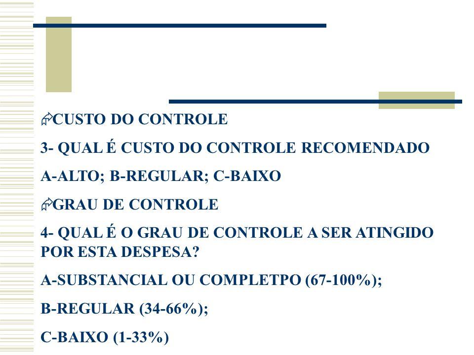  CUSTO DO CONTROLE 3- QUAL É CUSTO DO CONTROLE RECOMENDADO A-ALTO; B-REGULAR; C-BAIXO  GRAU DE CONTROLE 4- QUAL É O GRAU DE CONTROLE A SER ATINGIDO