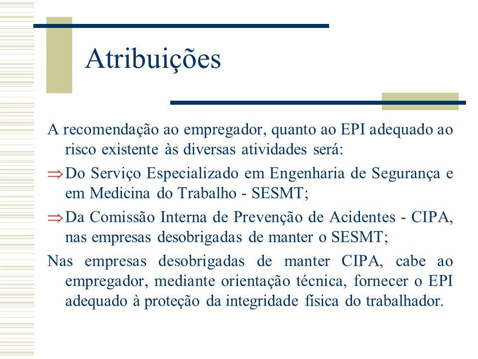 Atribuições A recomendação ao empregador, quanto ao EPI adequado ao risco existente às diversas atividades será:  Do Serviço Especializado em Engenha