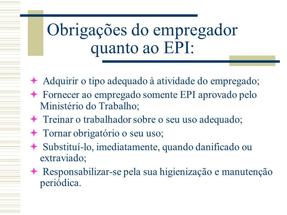 Obrigações do empregador quanto ao EPI: ª Adquirir o tipo adequado à atividade do empregado; ª Fornecer ao empregado somente EPI aprovado pelo Ministé