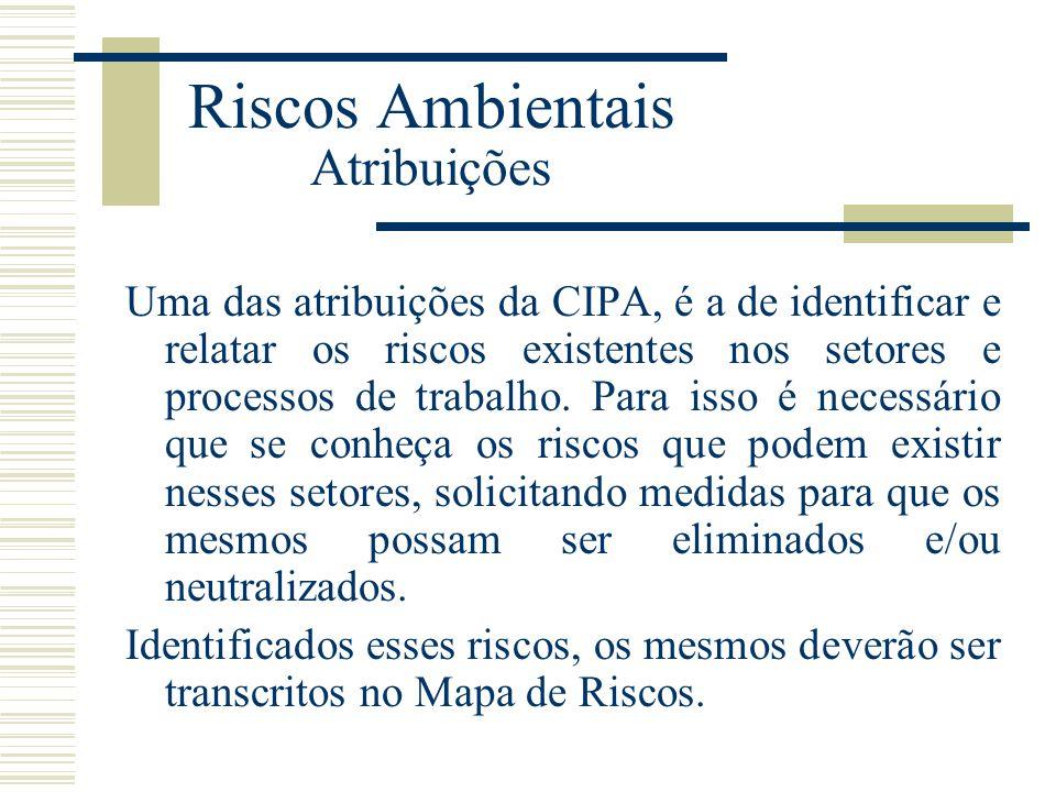 Riscos Ambientais Atribuições Uma das atribuições da CIPA, é a de identificar e relatar os riscos existentes nos setores e processos de trabalho. Para